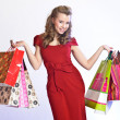 Girl with shopping - 图库照片