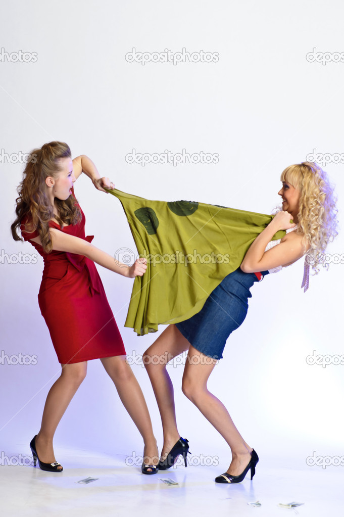 Girls wresting each other dress on sale — Stock Photo #5623649