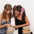 Foto Stock: Two girls of the student
