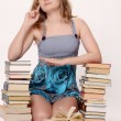 Teen girl with lot of books — Stock Photo