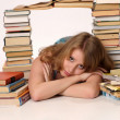 Young girl with books — Stock Photo
