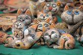 Funny ceramic cats — Stock Photo