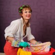 Housewife wash clothes — Stock Photo #6274997