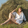 Blonde in a haystack — Stock Photo #6275678
