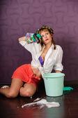 Housewife washing floors — Stock Photo