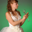 Portrait Of Bride Toasting With Wine Glass — Photo