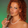 Portrait Of Bride Toasting With Wine Glass — Stock Photo