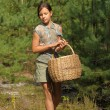 Girl with a basket to collect mushrooms IN THE FOREST — Stock Photo #6496121