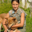 Girl and puppy — Stock Photo #6641515
