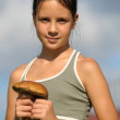Portrait of a girl with a mushrooms — Stock Photo #6641525