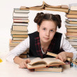 Young school girl with a lot of books — Stock Photo