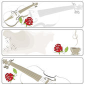 Banner. Abstract violin and coffee. vector illustration — 图库矢量图片