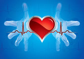 Hands caring heart — Stock Vector