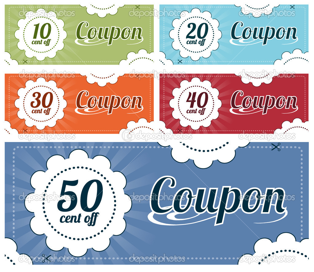 High resolution vector graphic of several promotional coupons. — Stock Vector #5625805