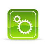 Green Mechanical Gears Icon — Stock Photo