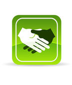 Green Handshake Icon — Stock Photo