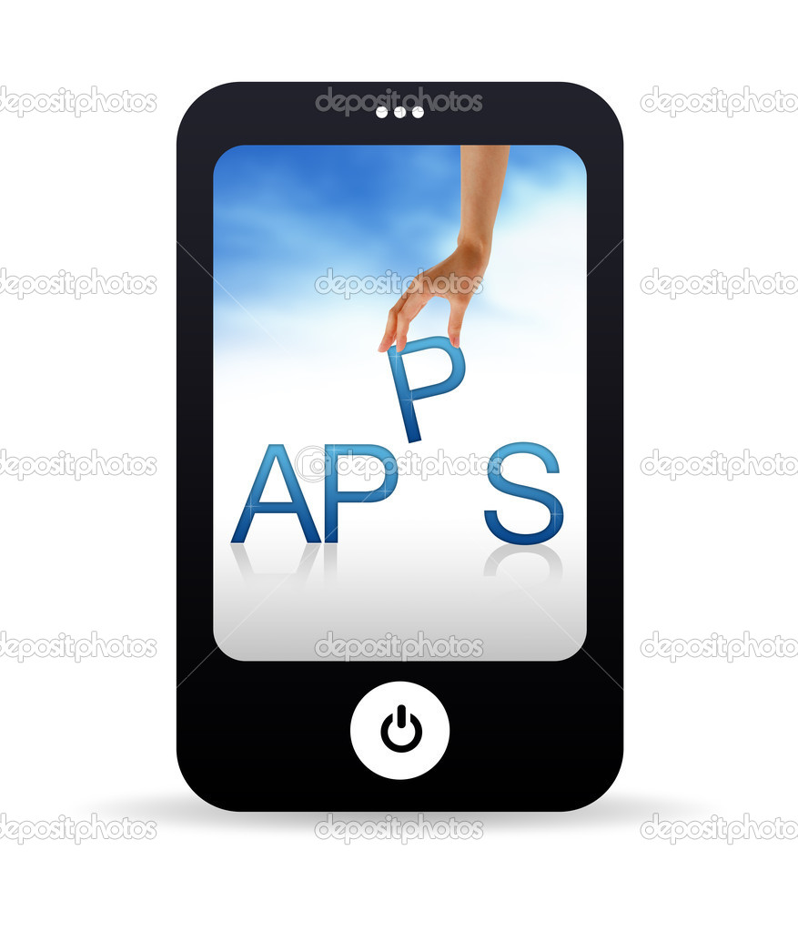 High resolution Mobile phone graphic with the word Apps — Stock Photo #5869476