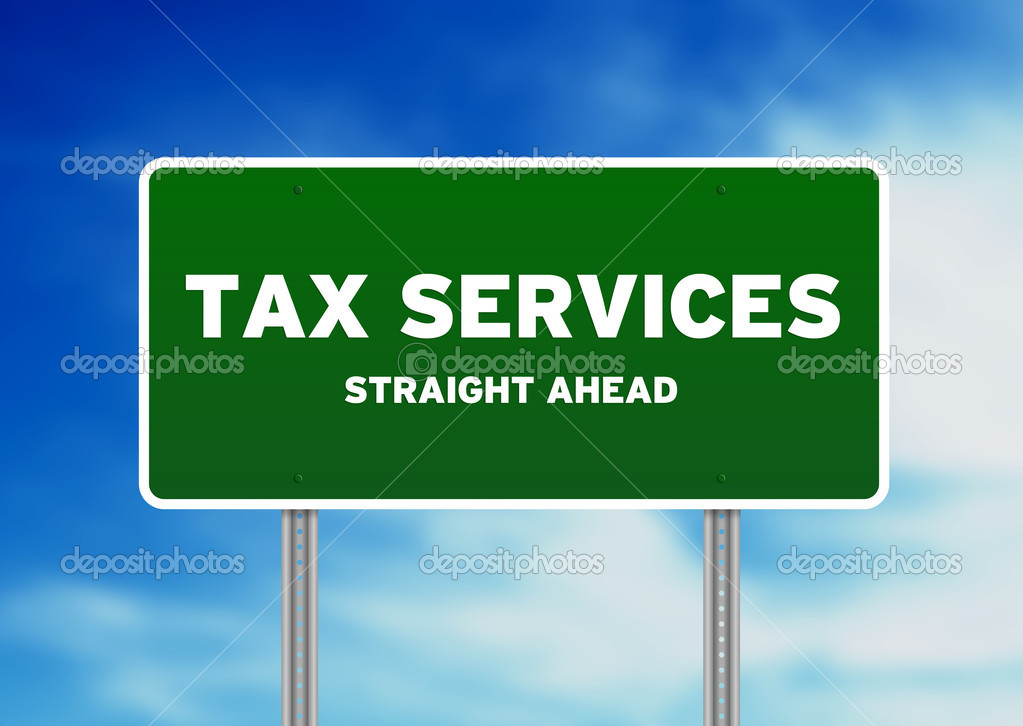 High resolution graphic of a tax services highway sign on Cloud Background.  — Stock Photo #5975663