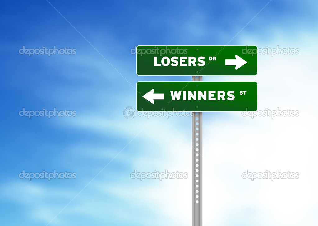High resolution graphic of losers and winners Road Signs on Cloud Background — Stock Photo #5975674