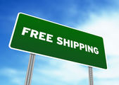 Free Shipping Highway Sign — Stock Photo