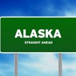 signo de Alaska highway verde — Foto de Stock