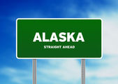 Alaska Green Highway Sign — Stock Photo