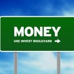 Green Money Highway Sign — Stock Photo