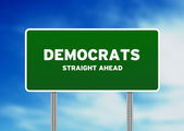 Green Democrats Highway Sign — Stock Photo