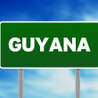 Guyana Highway Sign - Stock Photo