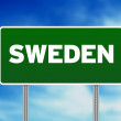 Sweden Highway Sign - Stock Photo
