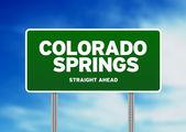 Colorado springs, signo de carretera colorado — Foto de Stock