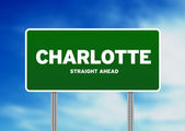 Charlotte, North Carolina Highway Sign — Stock Photo