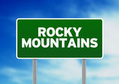 Rocky Mountains Highway Sign — Stock Photo