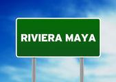 Riviera Maya Highway Sign — Stock Photo