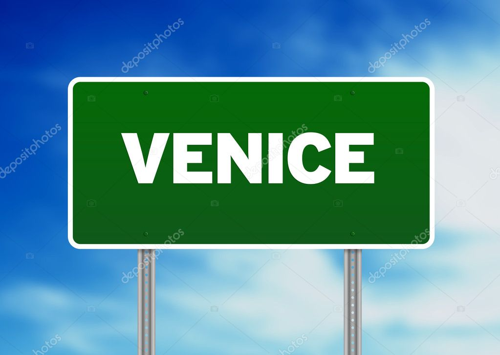 Green Venice highway sign on Cloud Background.  — Stock Photo #6114950