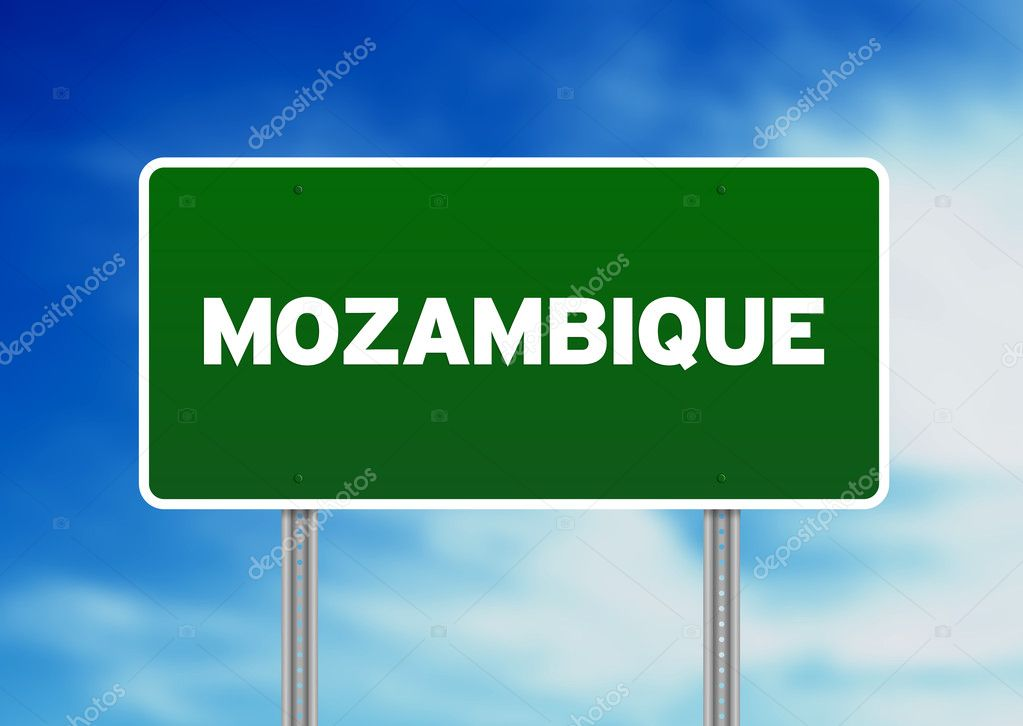 Green Mozambique highway sign on Cloud Background.  — Stock Photo #6117532