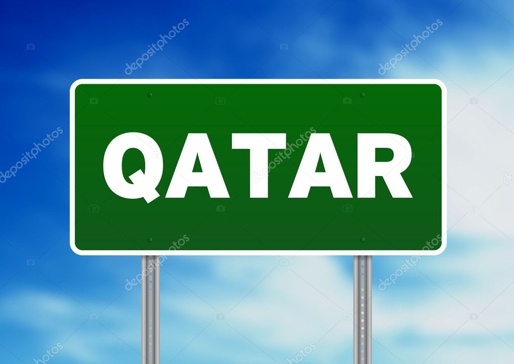 Green Qatar highway sign on Cloud Background.   Stock Photo #6117574