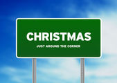 Christmas Highway Sign — Stock Photo