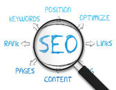Magnifying Glass - Search Engine Optimization — Foto de Stock