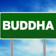 Green Road Sign Buddha — Stock Photo