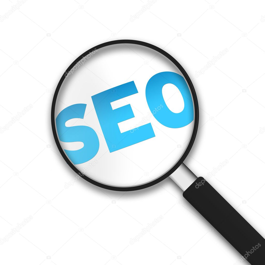 Magnifying Glass with the word SEO on white background. — Stock Photo #6154255