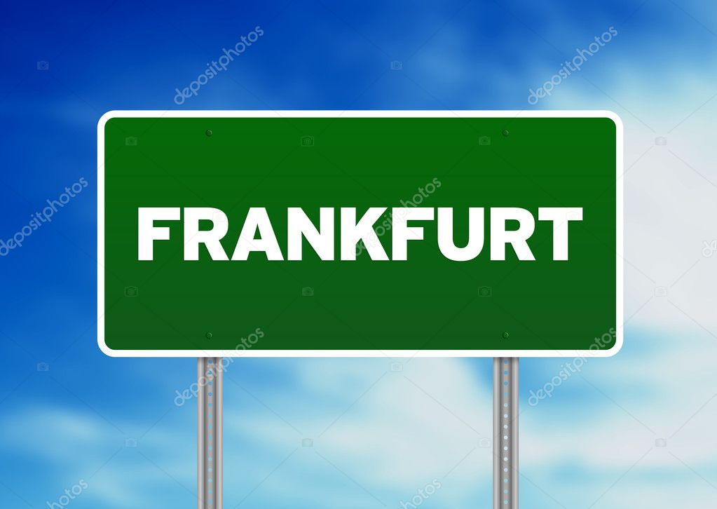 Green Frankfurt highway sign on Cloud Background.   Stock Photo #6206515
