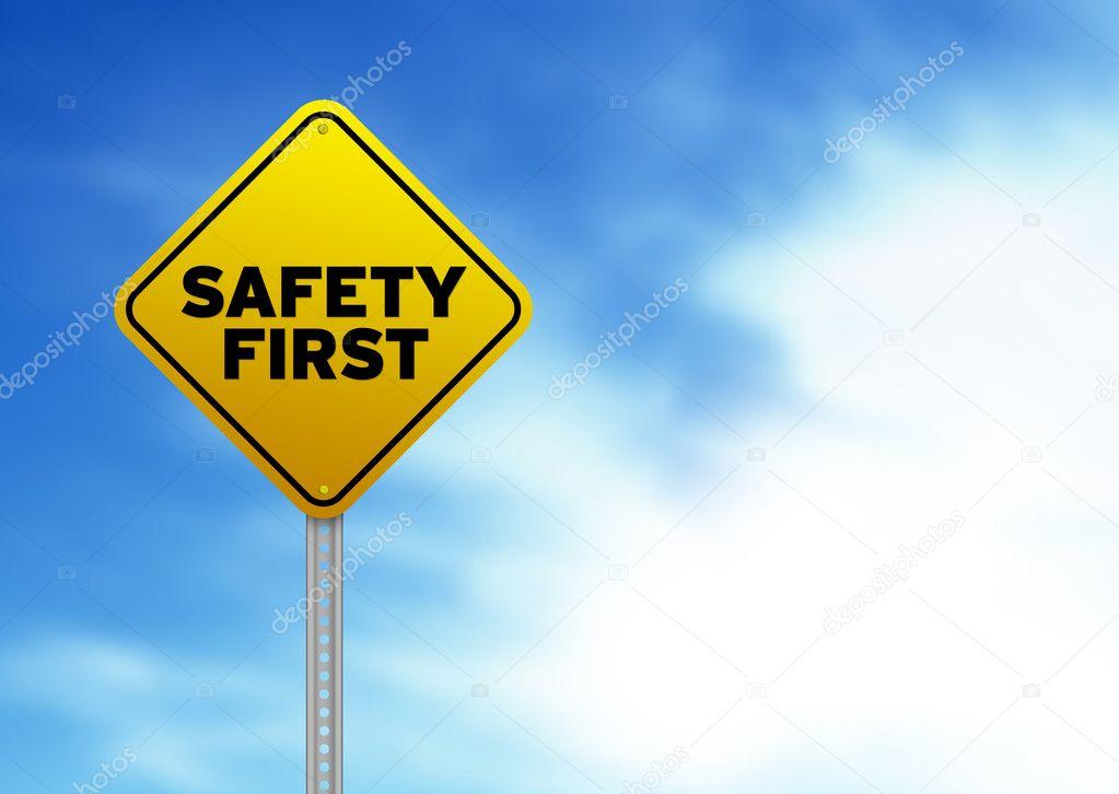 safety first road sign stock photo kbuntu 6220827. Black Bedroom Furniture Sets. Home Design Ideas