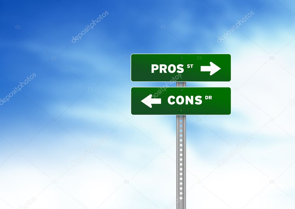 Pros and cons road sign - stock image