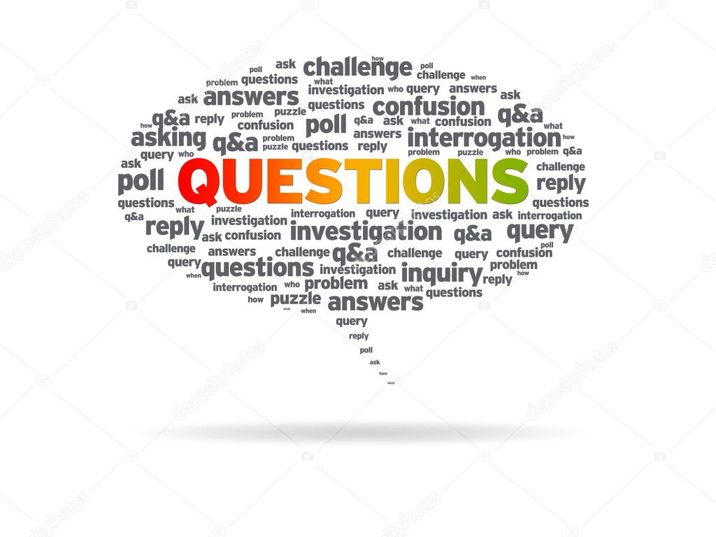 Speech bubble with the word questions on white background. — Photo #6289388