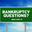 Stock Photo: Bankruptcy Questions Road Sign