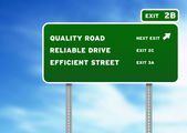 Quality, Reliable, Efficient Highway Sign — Stock Photo