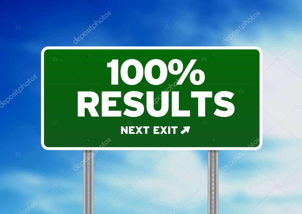 Green 100% Results highway sign on Cloud Background.   Stock Photo #6291614