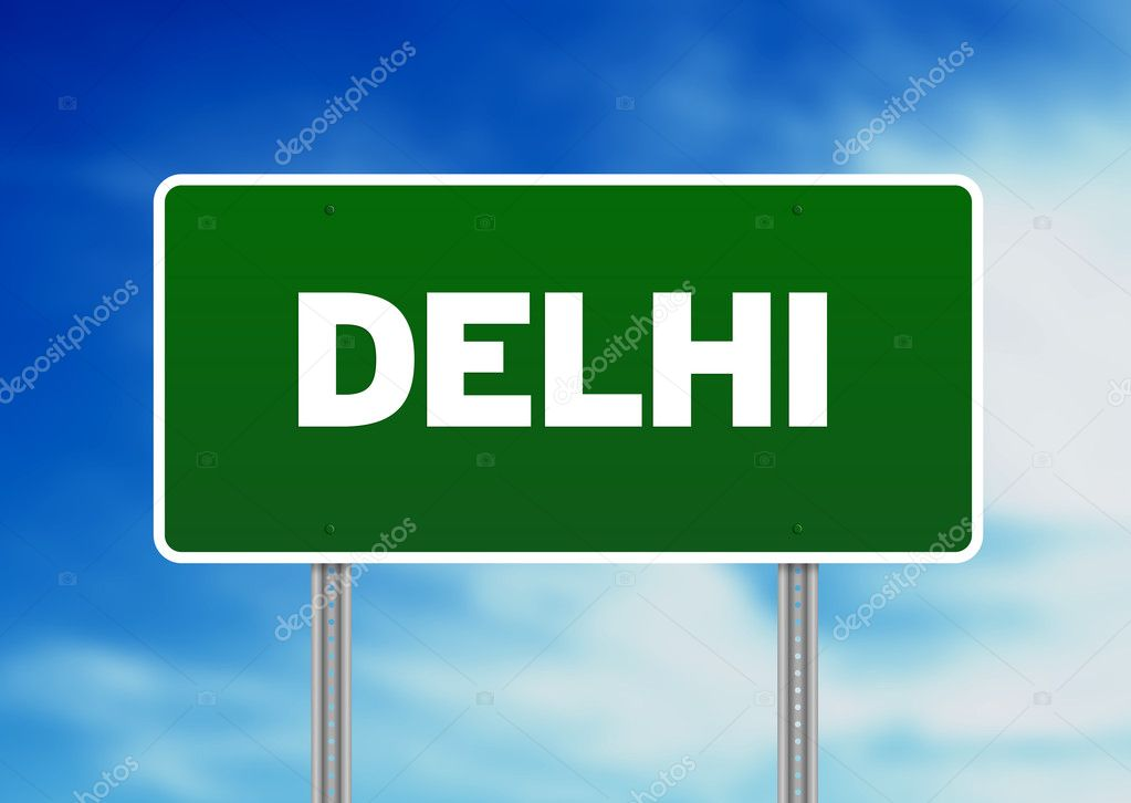 Green Delhi highway sign on Cloud Background.  — Stock Photo #6291623