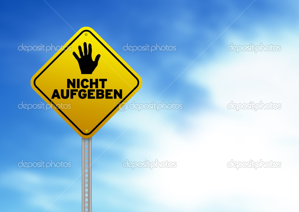 Yellow Don't give up roadsign on Cloud Background. — Stock Photo #6291649